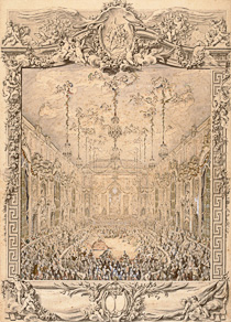 Charles-Nicolas Cochin the younger The Costumed Ball Held at Versailles on February 24, 1745 Pen and black ink, gray wash, watercolor, and white gouache highlights H. 0.74 m; L. 0.53 m Inv. 25251 Paris, Musée du Louvre, Department of Prints and Drawings