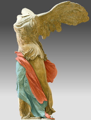 circa 220-185 BC Samothrace Parian marble for the statue and gray Rhodian marble for the boat and base total H. 5.57 m Champoiseau expeditions of 1863, 1879 and 1891 Paris, Musée du Louvre, MA 2369